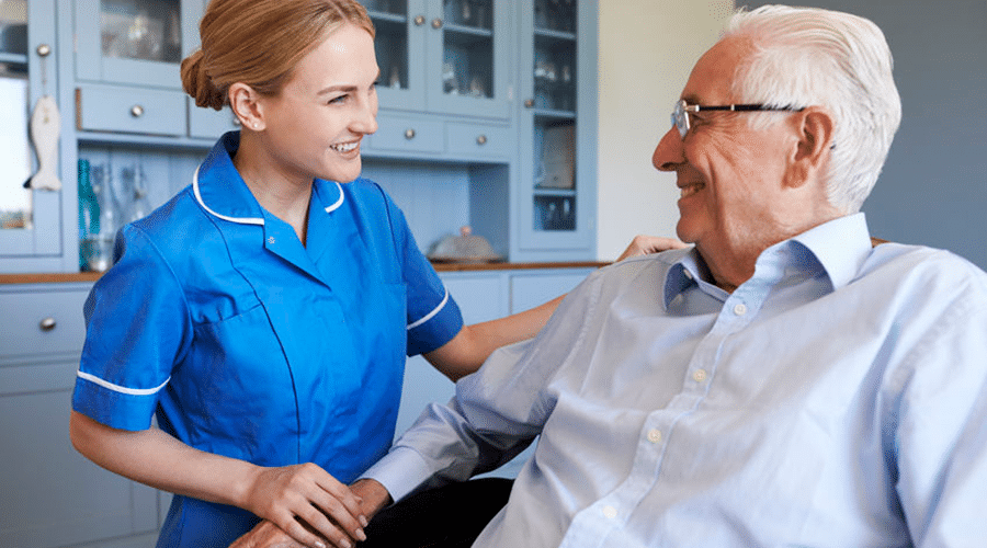 Nurse interacting with patient