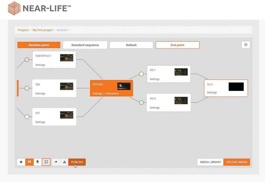 Branching design game map for interactive video scenario