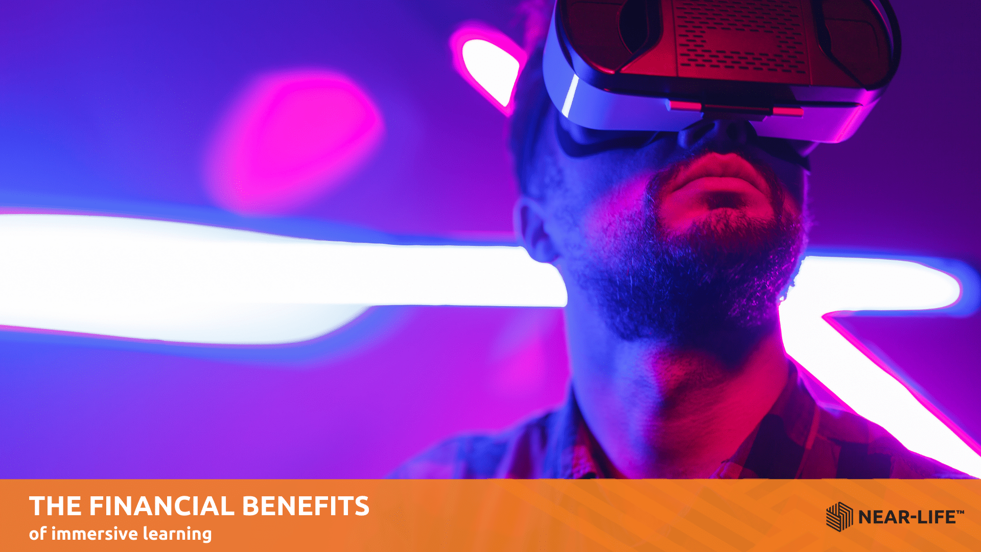 Male in VR headset for immersive learning